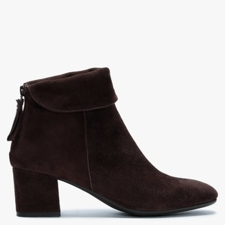 Lamica Brown Suede Block Heel Ankle Boots