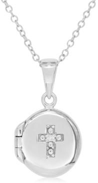 Rhona Sutton My Very Own Diamond Children's Diamond Accent Cross Locket in Sterling Silver