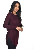 AX Paris Wine Cable Knit Laddered Jumper