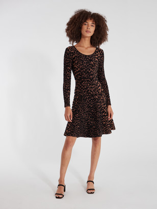 Milly Textured Cheetah Flare Knit Dress