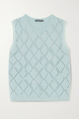 ALEXACHUNG Faux Pearl-embellished Wool And Cotton-blend Vest - Sky blue