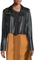 Elizabeth and James Gigi Cropped Leather Biker Jacket, Black