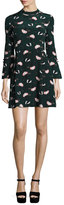 Derek Lam 10 Crosby Bell-Sleeve Floral A-Line Dress, Black/Green/Multicolor