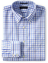Lands' End Men's No Iron Traditional Fit Long Sleeve Basketweave Shirt-Russet Orange