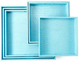 Twos Company Two's Company Two&s Company Aqua Faux Leather Square Gallery Trays - Set of 6
