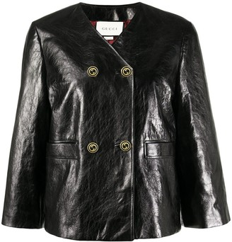 Gucci Cropped Sleeve Leather Jacket