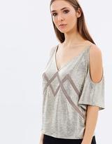 Karen Millen Metallic Cold-Shoulder Top