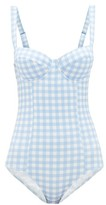 Ephemera - Gingham-print Balconette Swimsuit - Womens - Blue Print