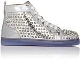 Christian Louboutin Men's Louis Flat Leather Sneakers-SILVER
