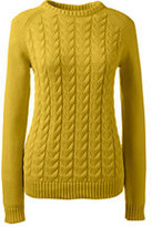 Lands' End Women's Petite Drifter Cable Sweater-Rich Red Stripe