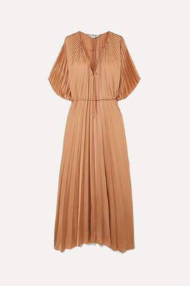 Stella McCartney Tie-detailed Plisse-satin Maxi Dress - Sand