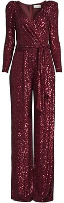 Sachin + Babi Lyanna Puff-Shoulder Sequin Jumpsuit