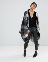 French Connection Double Faced Check Cape