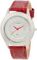 Akribos XXIV Women's AKR464RD Brillianaire Diamond Red Swiss Quartz Strap Watch