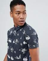 Brave Soul Skull And Bird Print Short Sleeved Shirt