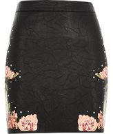 River Island Womens Black faux leather floral mini skirt