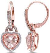 10K Rose Gold 2.44ctw Morganite and White Diamond Heart-Shaped Drop Earrings