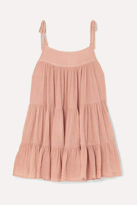 Peri Honorine Tiered Crinkled Cotton-gauze Mini Dress - Tan