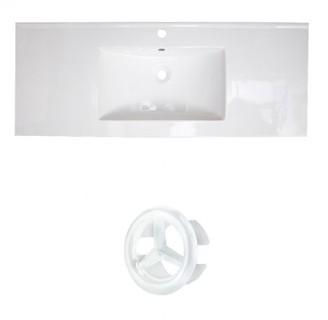 "American Imaginations Roxy Ceramic 48"" Single Bathroom Vanity Top Faucet Mount: Single Hole, Overflow Cap Color: White"