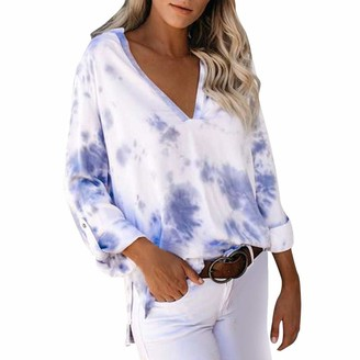 iHAZA Women Casual Print Roll Up Long Sleeve Down Tie-dye Shirt Tops Elegant Blouses Shirts White