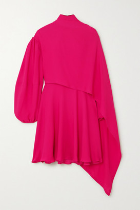 Valentino Cape-effect Tie-neck Silk-chiffon Mini Dress - Pink