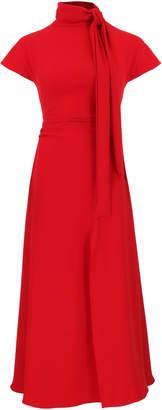 Amal Al Mulla Ruby Red Crepe Flared Midi Dress