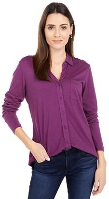 Michael Stars Ultra Jersey Harley Long Sleeve Knit Shirting (Grape) Women's Clothing