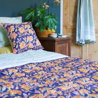 Artisans & Adventurers - Indian Kantha Single Sized Quilt Sunset Floral