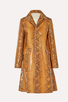 Marni Snake-effect Leather Coat - Brown