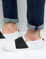 Asos Slip On Sneakers In White Pyramid With Elastic Strap
