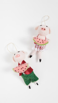 Gift Boutique Watermelon Pig Ornaments