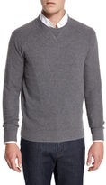 Neiman Marcus Mixed-Textured Crewneck Sweater, Granite