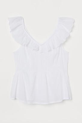 H&M Flounce-trimmed cotton top