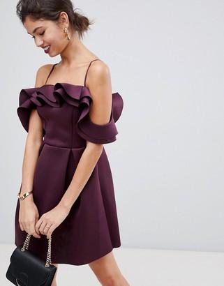 ASOS DESIGN Strappy Ruffle Scuba Prom Mini Dress