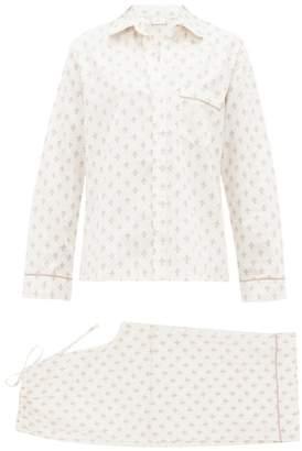 Pour Les Femmes - Fleur De Lis Print Cotton Sateen Pyjamas - Womens - White Multi
