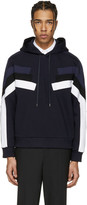 Neil Barrett Navy Panelled Modernist Retro Hoodie