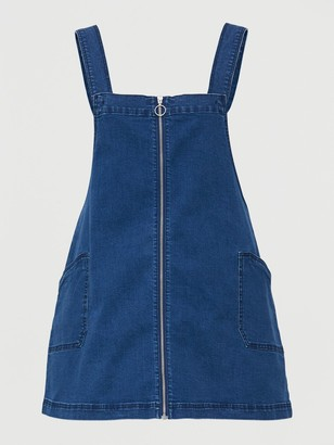 V By Very Curve Denim Zip Through Pinafore Dress - Mid Wash