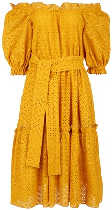 Vasiliki Atelier Natalia Eyelet Dress - Mustard