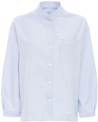 The Sleep Shirt Striped Cotton Flannel Pajama Shirt