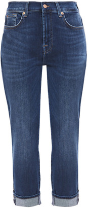 7 For All Mankind Cropped Faded High-rise Slim-leg Jeans