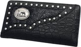 Forever Country MENS WESTERN Praying Cowboy CONCHO BI-FOLD Wallet w/chrome studs