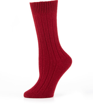 Neiman Marcus Cashmere Ribbed Socks