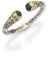 Konstantino Asteri Black Diamond, 18K Yellow Gold & Sterling Silver Filigree Cuff Bracelet