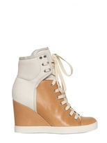 See by Chloe 85mm Nubuk Two Tone Sneaker Wedges