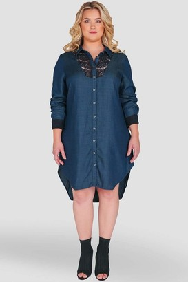 Standards & Practices Felicity Denim Shirt Dress in Blue Size 1X