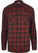 River Island MensRed western check shirt