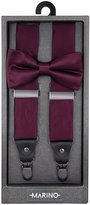 Marino Avenue Marino Men's Y-Back Adjustable, Silk-like Dress Suspender and Bow Tie Set
