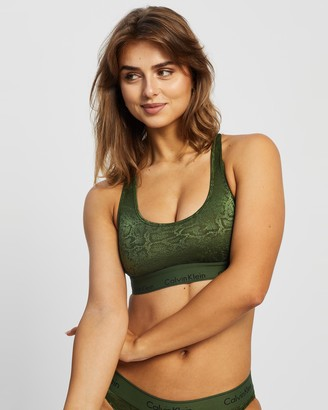 Calvin Klein Women's Green Crop Tops - Modern Cotton Snakeskin Burnout Unlined Bralette - Size S at The Iconic