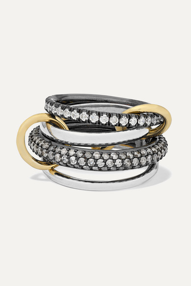 Spinelli Kilcollin Vega Set Of Four Sterling And Rhodium-plated Silver And 18-karat Gold Diamond Rings