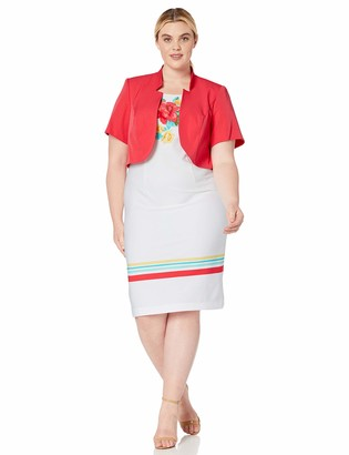 Maya Brooke Women's Plus Size Floral and Stripe Pattern Jacket Dress